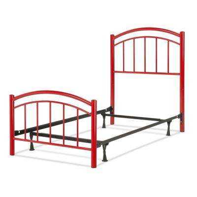 Rylan Tomato Red Full Kids Bed with Metal Duo Panels