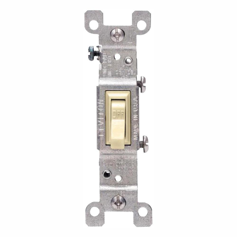 Leviton 15 Amp Single Pole Switch, Ivory (10-Pack)