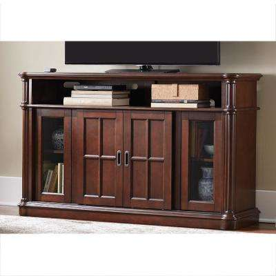 Jamerson Manor 60 in. Media Console Infrared Electric Fireplace TV Stand in Mahogany