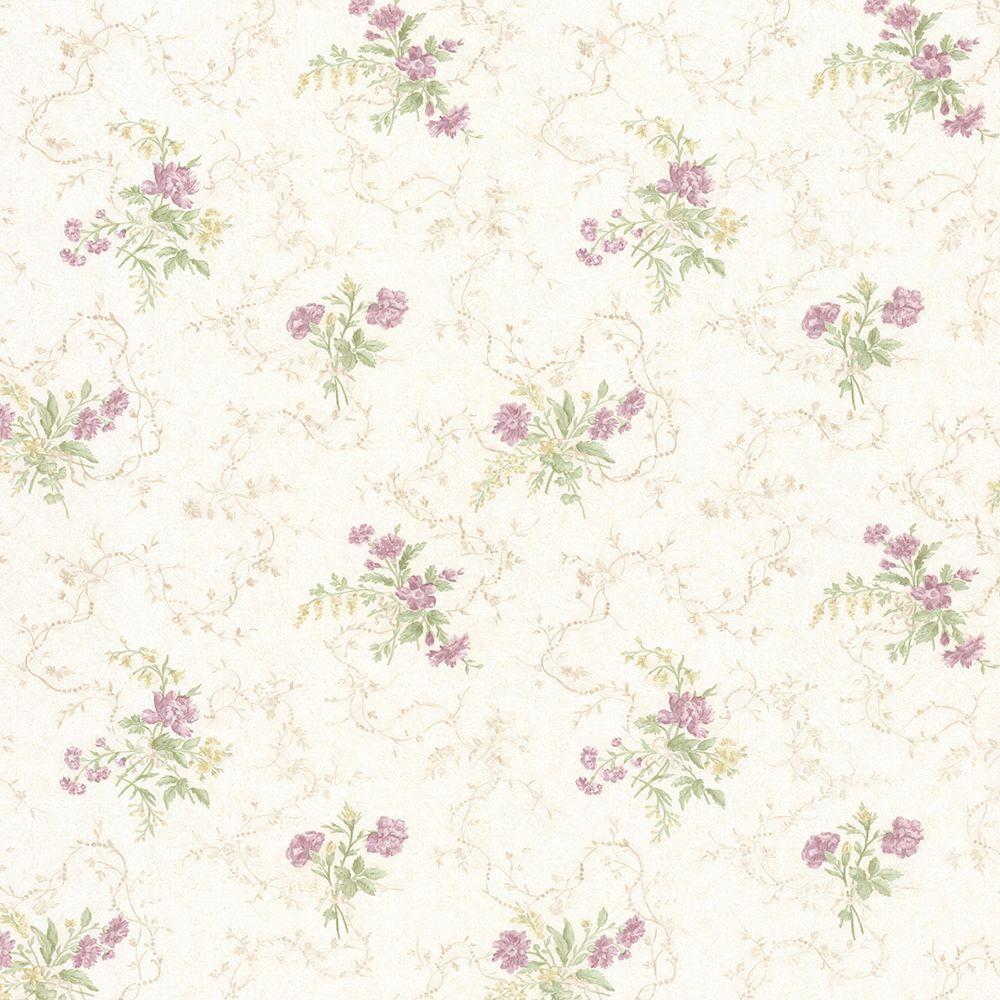 Marie Mauve Delicate Floral Bouquet Wallpaper