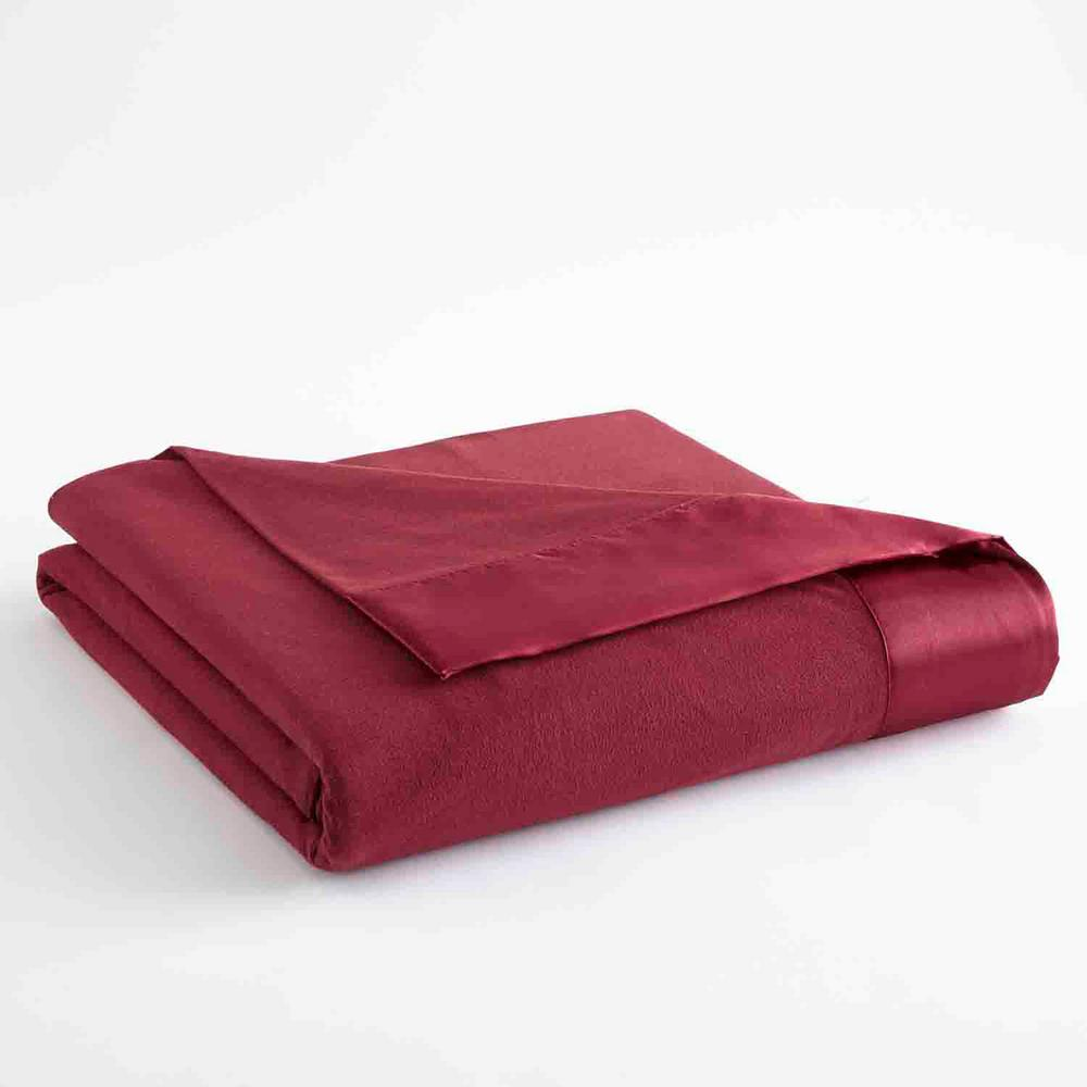MicroFlannel Micro Flannel All Seasons Lightweight Wine Solid Twin Flat Sheet, Red