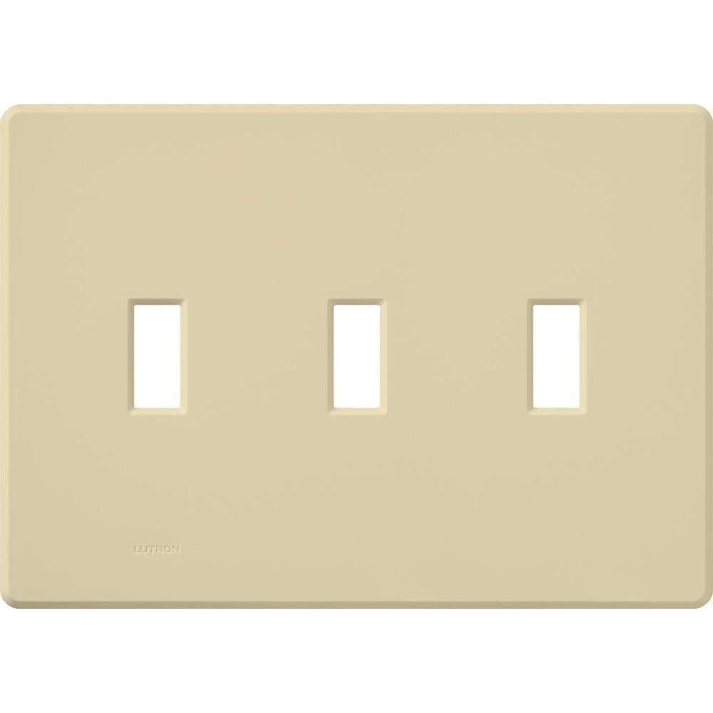 lutron fassada 3 gang toggle wall plate ivory fg 3 iv the home depot. Black Bedroom Furniture Sets. Home Design Ideas