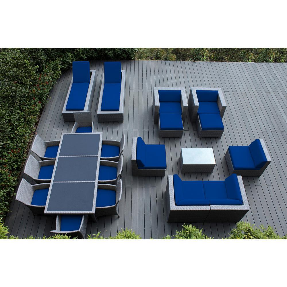 Gray 20-Piece Wicker Patio Combo Conversation Set with Sunbrella Pacific Blue Cushions