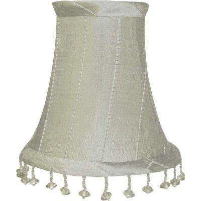 Stretch Bell Platinum Dupione Silk Chandelier Shade with Vertical Stitching and Clear Glass Beads