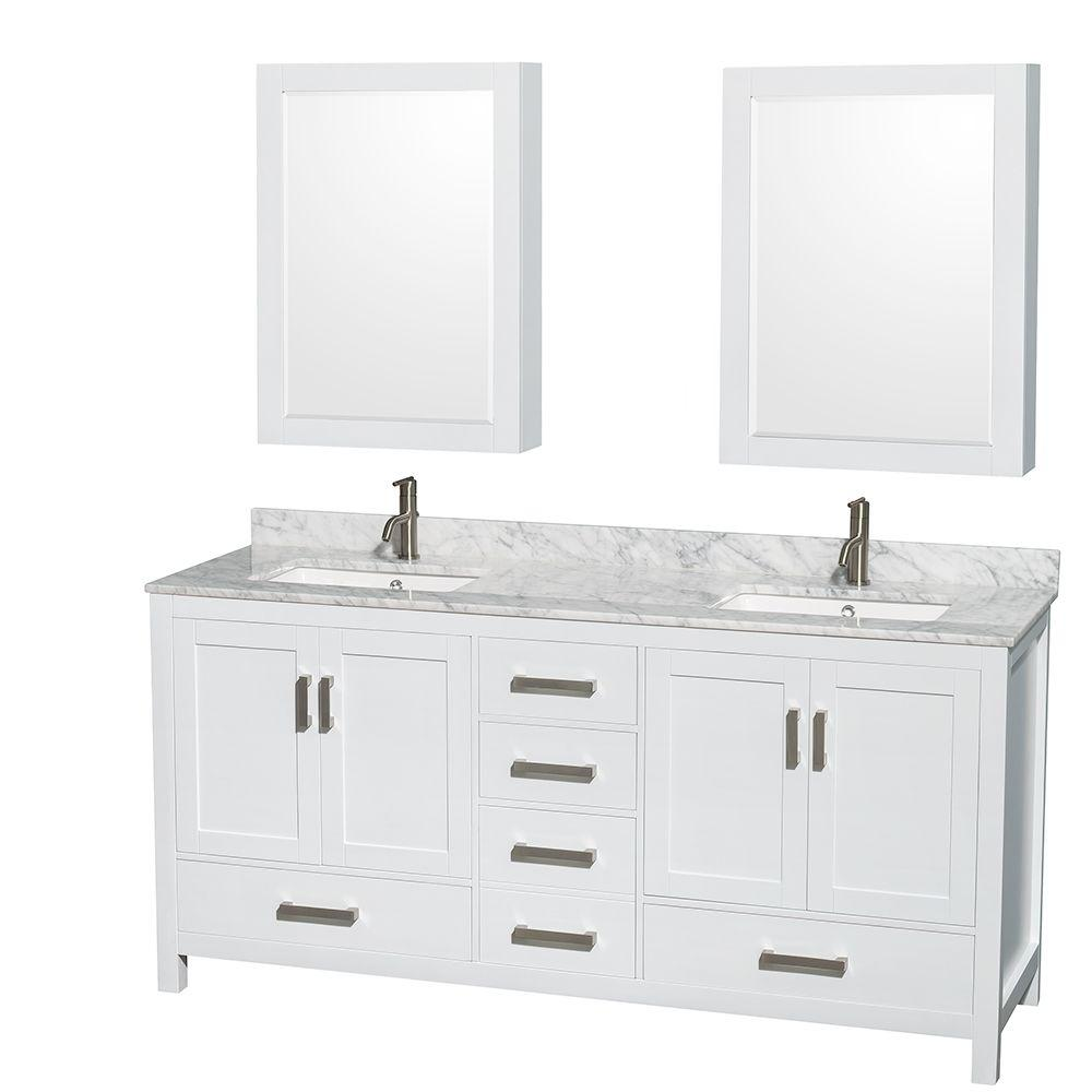 Wyndham Collection Sheffield 72 In Double Vanity White With Marble Top Carrara