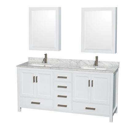 Sheffield 72 in. Double Vanity in White with Marble Vanity Top in Carrara White and Medicine Cabinets