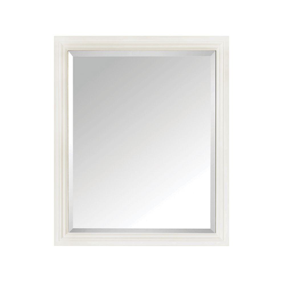 Thompson 28 in. W x 33 in. H Framed Rectangular Beveled Edge Bathroom Vanity Mirror in French White