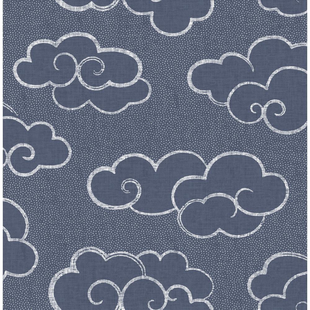 Glendora, Navy Skylark Cloud Paper Strippable Wallpaper Roll (Covers 56.4 sq. ft.)