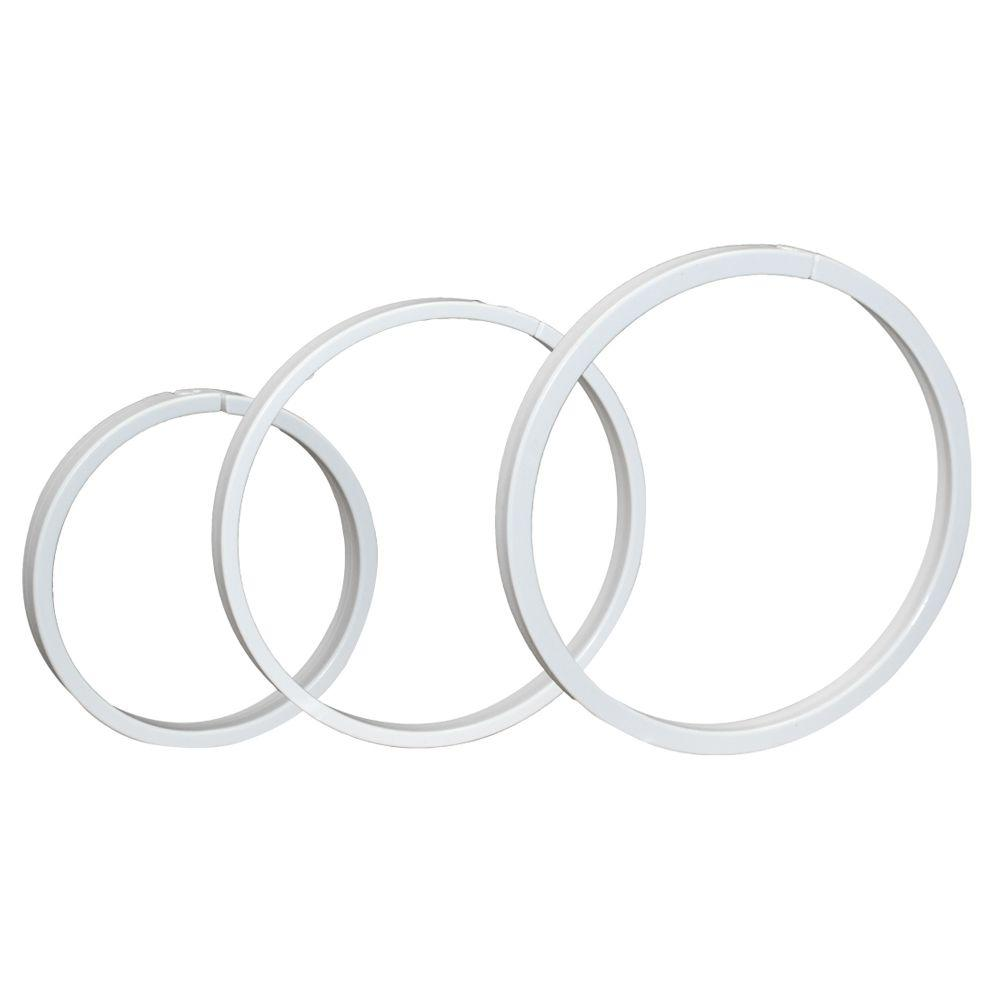 LeakBGone Leak-B-Gone 2 in., 3 in. and 4 in. Assorted PVC Repair Ring (3-Pack), White