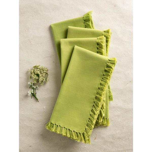 LtGreen Essential Fringed Napkins (Set of 4)