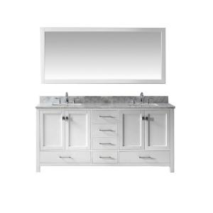 Virtu USA Caroline Avenue 72 inch W x 36 inch H Vanity with Marble Vanity Top in Carrara White with White Square Basin... by Virtu USA