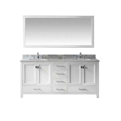 Caroline Avenue 72 in. W Bath Vanity in White with Marble Vanity Top in White with Square Basin and Mirror