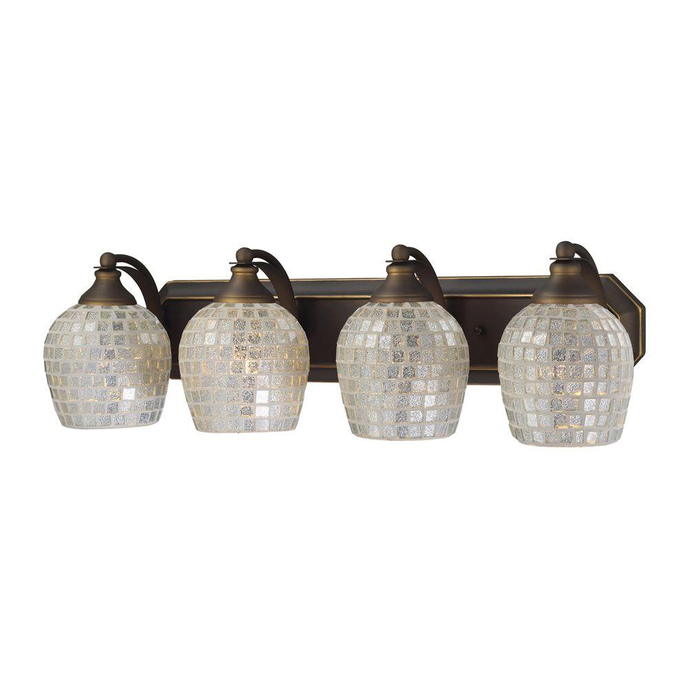 Titan Lighting Light Aged Bronze Vanity Light With Silver Mosaic - Bathroom light fixtures silver