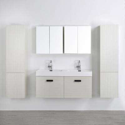47.2 in. W x 18.1 in. H Bath Vanity in Gray with Resin Vanity Top in White with White Basin and Mirror