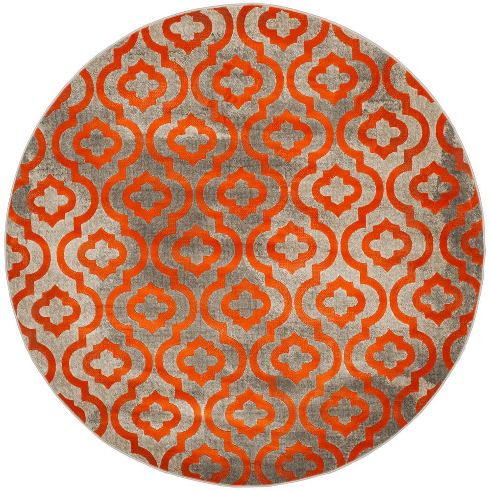 Safavieh Porcello Light Gray/Orange 7 ft. x 7 ft. Round Area Rug