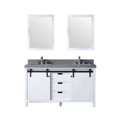 Marsyas 60 in. Double Bath Vanity in White w/ Grey Quartz Top w/ White Square Sinks and 24 in. Mirrors