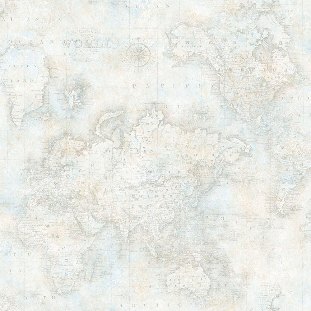 Chesapeake Hardings Grey World Map Wallpaper Dlr47544 The Home Depot