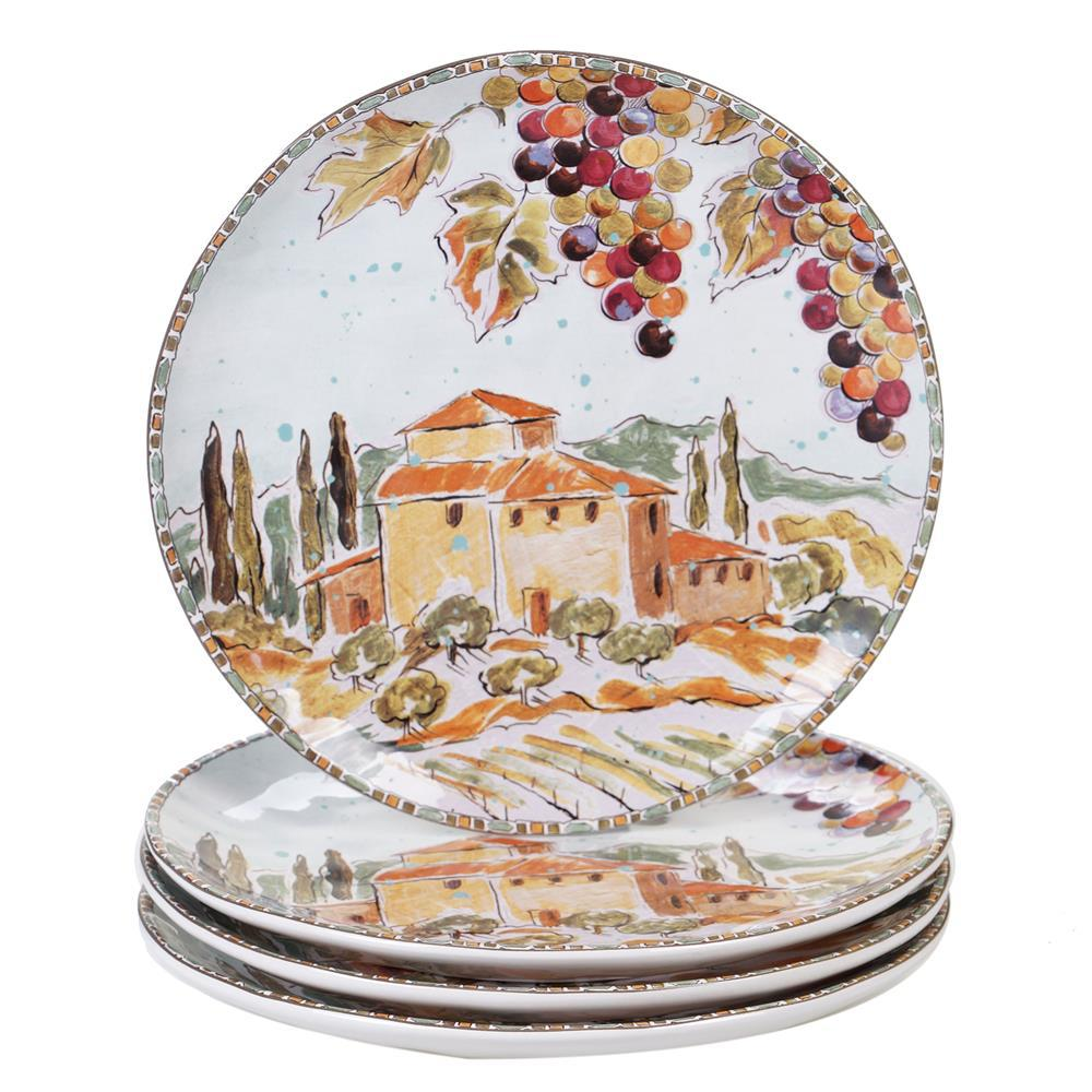 Tuscan Breeze 4-Piece Patterned Multi-Colored Earthenware 10.75 in. Dinner Plate Set (Service for 4)