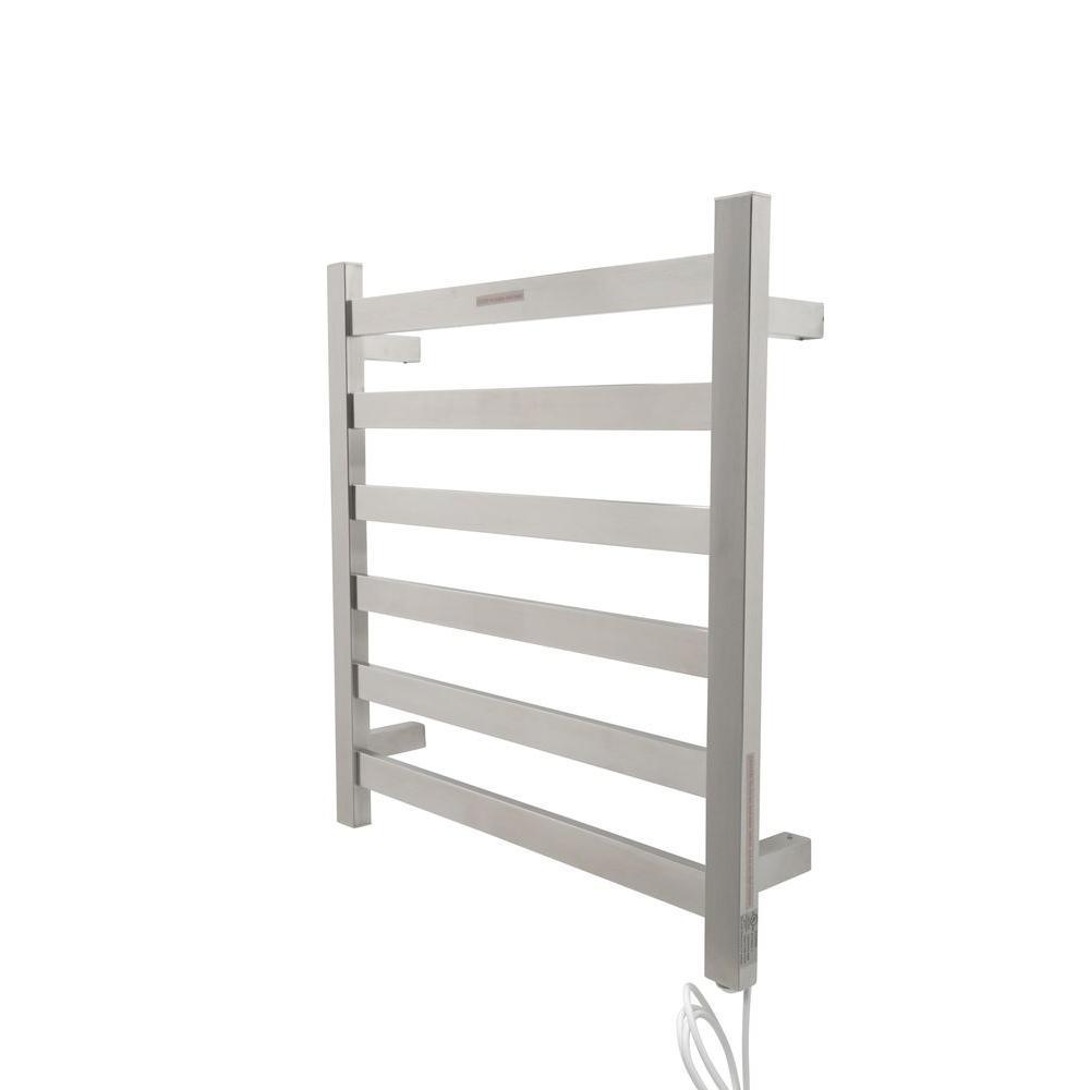 Note 6-Bar Stainless Steel Wall Mounted Electric Towel Warmer Rack in Brushed Nickel