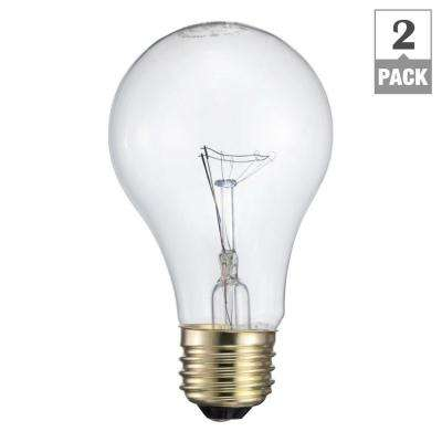 60-Watt Incandescent A19 Garage Door Light Bulb (2-Pack)