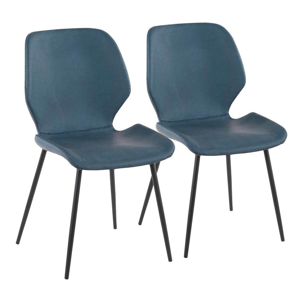 Lumisource Black Metal Industrial Serena Chair With Blue Faux Leather (Set  Of 2)