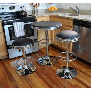 AmeriHome Vintage Style Soda Shop 37 inch Adjustable Height Chrome Bar Table Set in Black with Chrome Vinyl Stools... by AmeriHome
