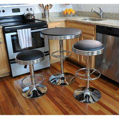 Vintage Style Soda Shop 37 in. Adjustable Height Chrome Bar Table Set in Black with Chrome Vinyl Stools (3-Piece)