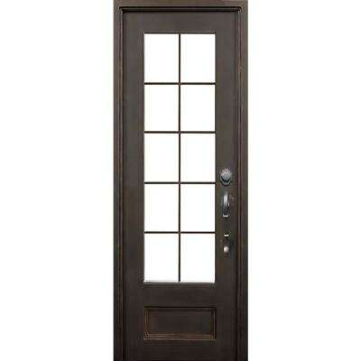 40 in. x 97.5 in. Key Largo Dark Bronze Left-Hand Inswing Painted Iron Prehung Front Door w/ Clear Glass & Hardware