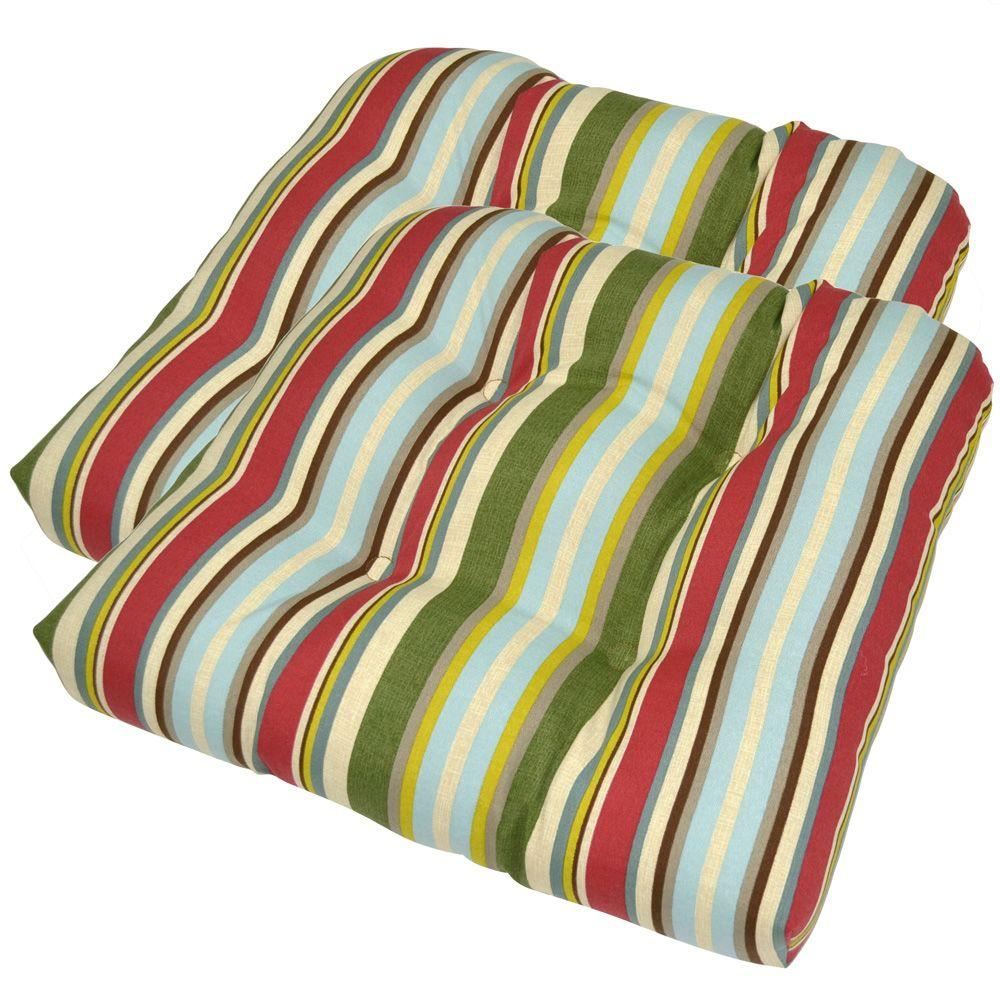 Plantation Patterns Grove Stripe Tufted Outdoor Seat Pad (2-Pack)-DISCONTINUED