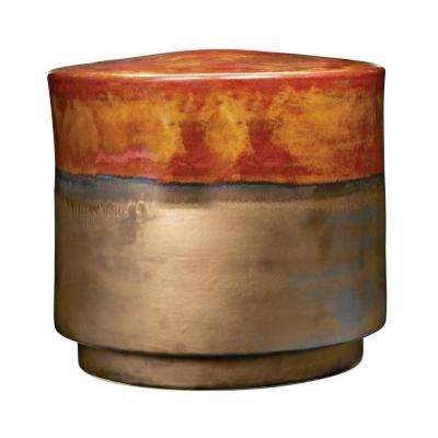 15 in. Burnt Gold Crackle and Coffee Earthenware Stool
