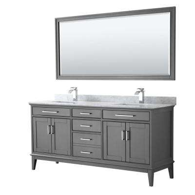 Margate 72 in. Bath Vanity in Dark Gray with Marble Vanity Top in White Carrara with White Basins and 70 in. Mirror