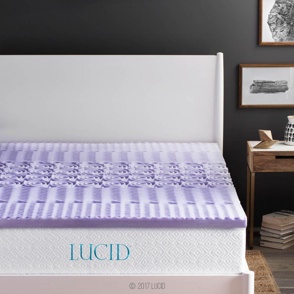 Lucid 2 in. King Zoned Lavender Memory Foam Mattress Topper