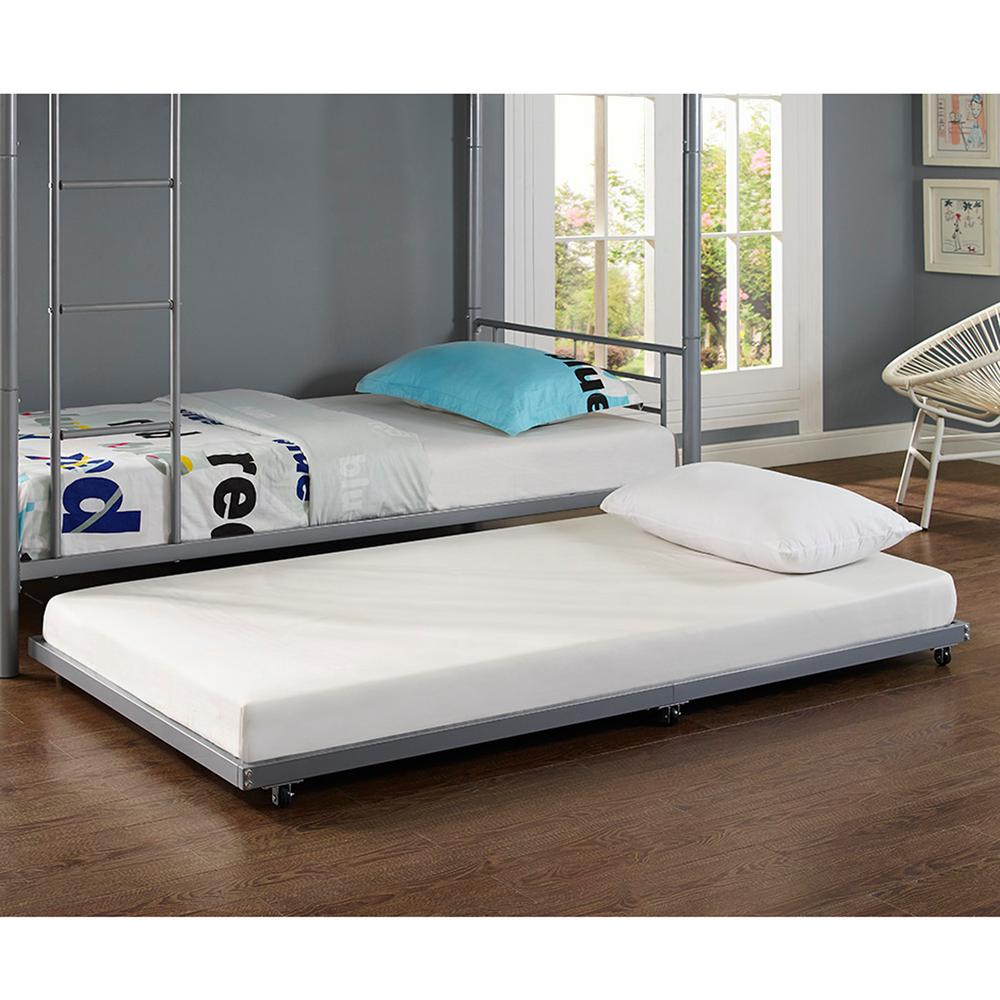 Walker Edison Silver Twin Metal Trundle Bed Product Picture