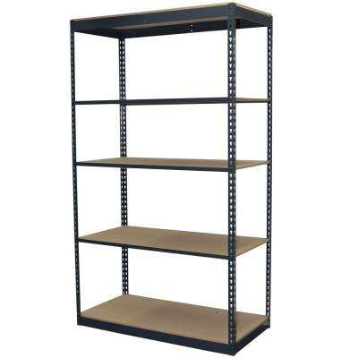 96 in. H x 48 in. W x 24 in. D 5-Shelf Steel Boltless Shelving Unit with Low Profile Shelves and Particle Board Decking