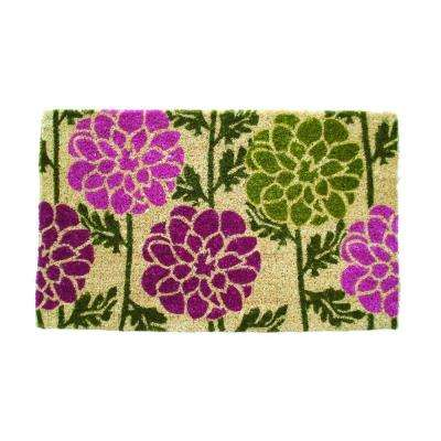 Dahlias 18 in. x 30 in. Hand Woven Coir Door Mat