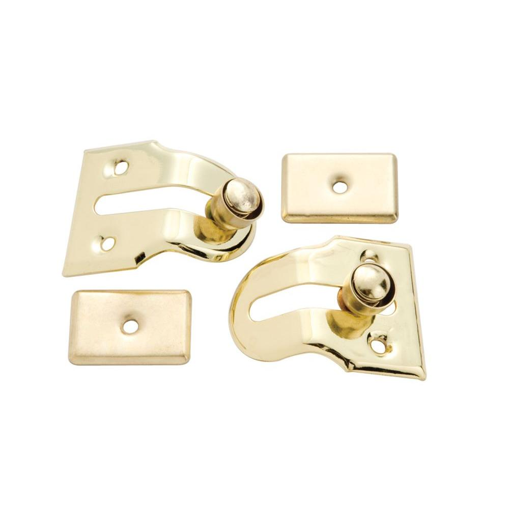 First Watch Security Polished Brass Window Vent Lock (2-Pack)