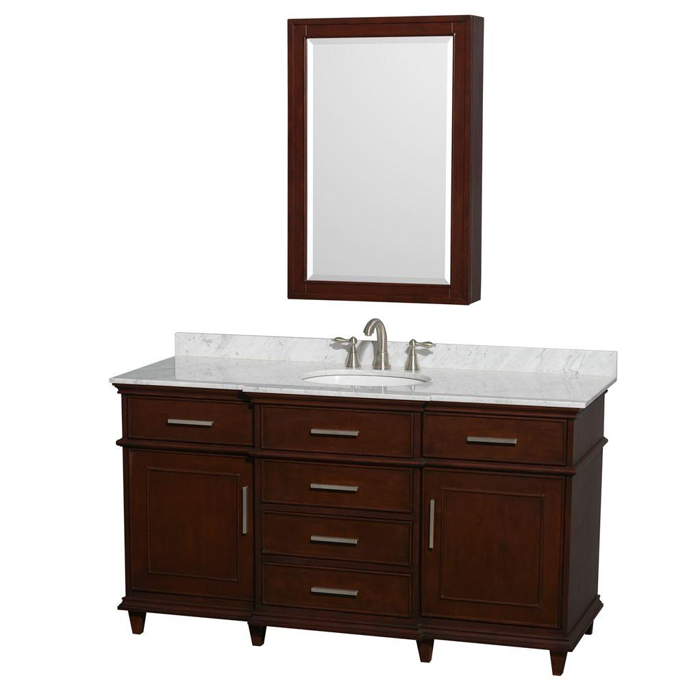 Wyndham Collection Berkeley 60 In Vanity In Dark Chestnut With