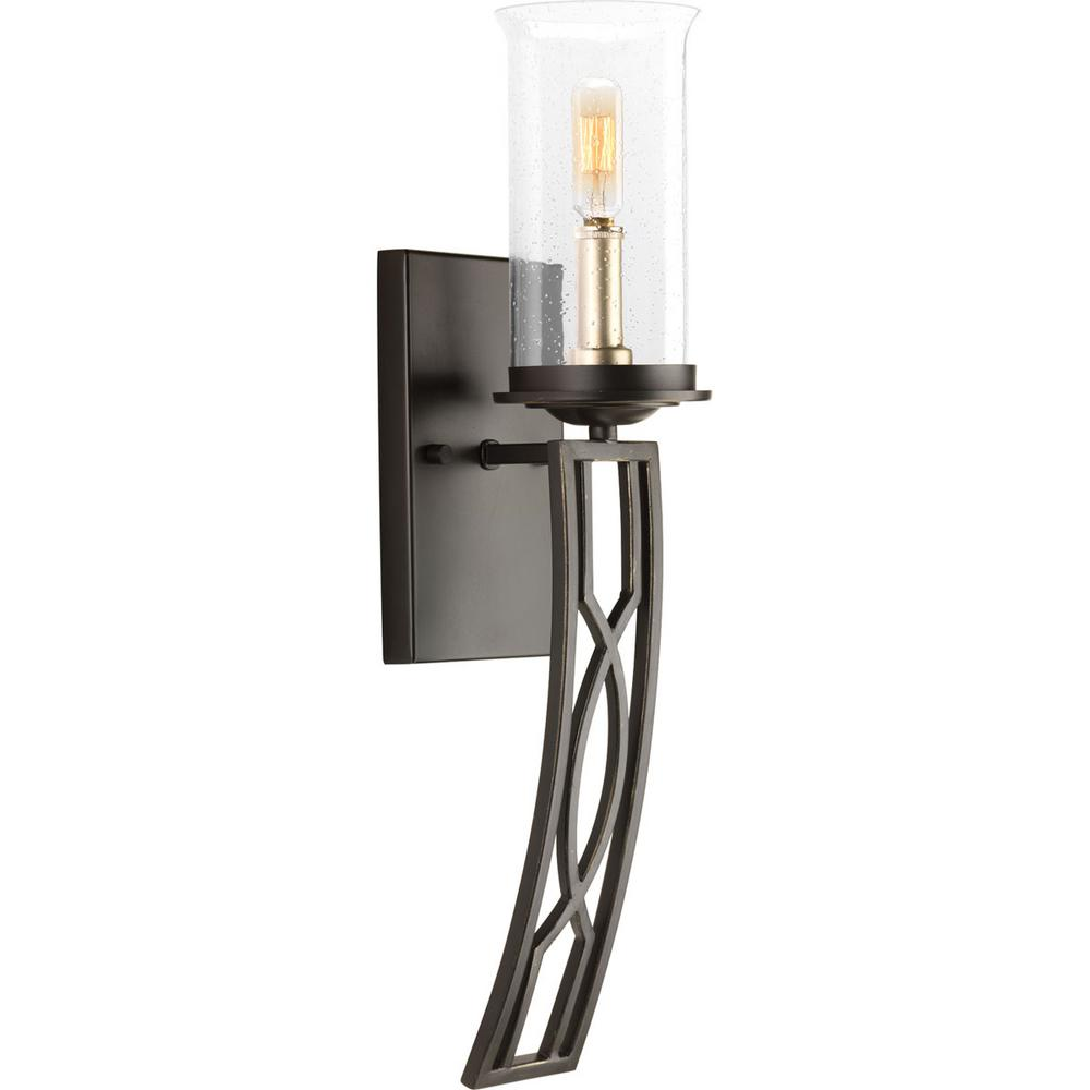 Soiree Collection 1-Light Antique Bronze Bath Sconce with Clear Glass Shade