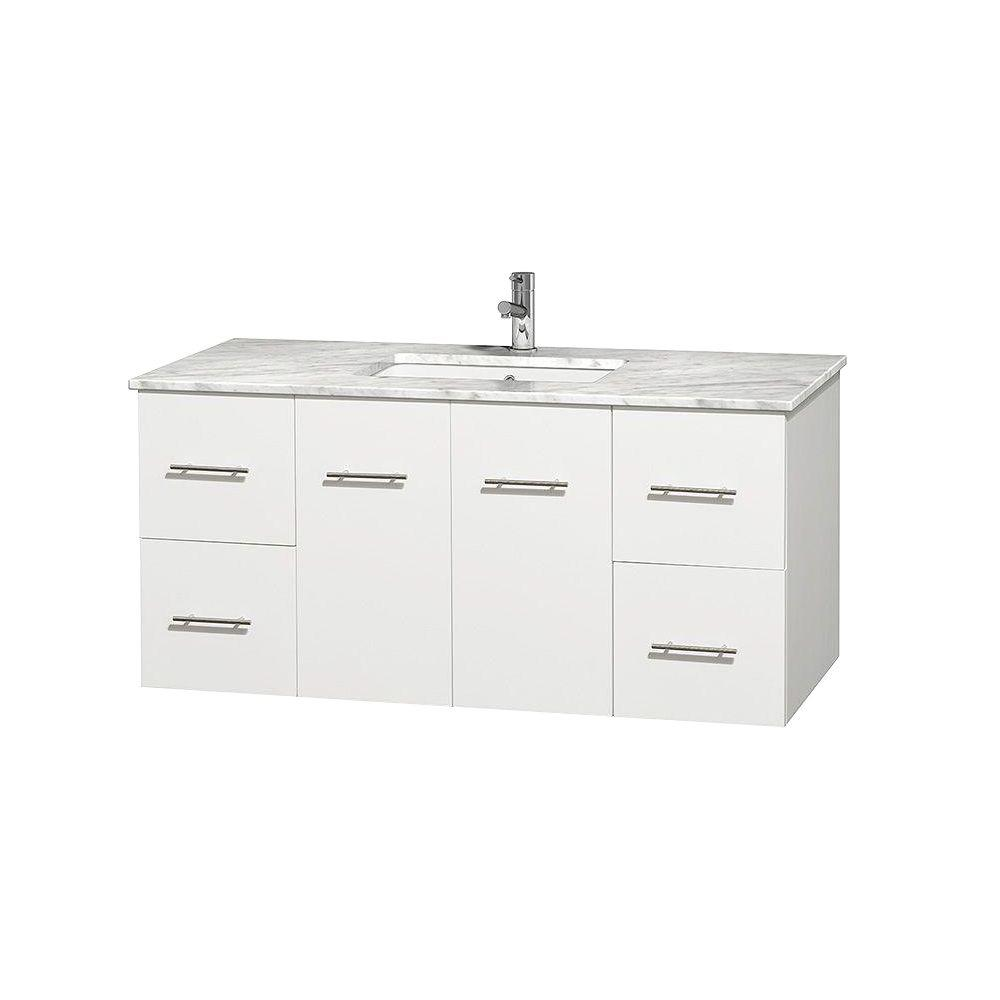 Wyndham Collection Centra 48 in. Vanity in White with Marble Vanity Top in Carrara White and Undermount Sink