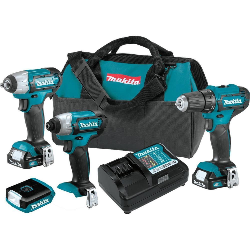 Makita 12-Volt MAX CXT Lithium-Ion Cordless Combo Kit (Driver-Drill/Impact Driver/Impact Wrench/Flashlight) 1.5 Ah (4-Piece)