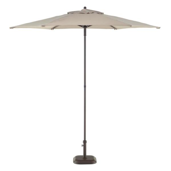 7.5 ft. Steel Market Outdoor Patio Umbrella in Riverbed Taupe