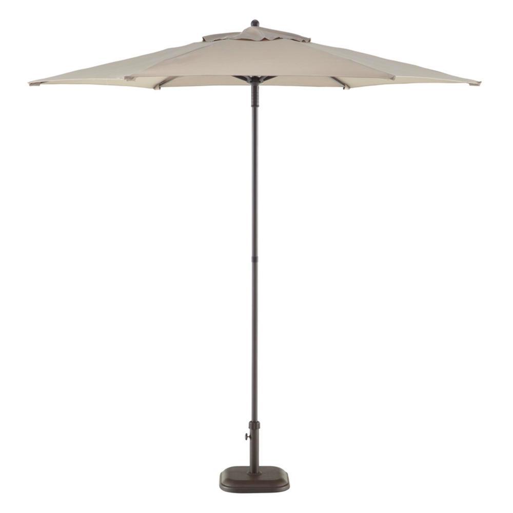 7.5 ft. Steel Market Outdoor Patio Umbrella in Riverbed Taupe