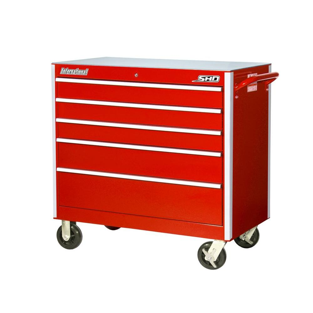 SHD Series 42 in. 5-Drawer Cabinet, Red
