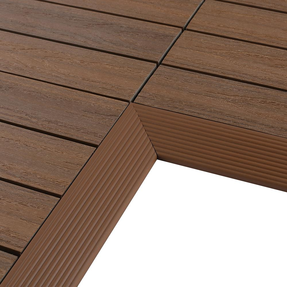 NewTechWood 1/6 ft. x 1 ft. Quick Deck Composite Deck Tile Inside Corner in Peruvian Teak (2-Pieces/box)