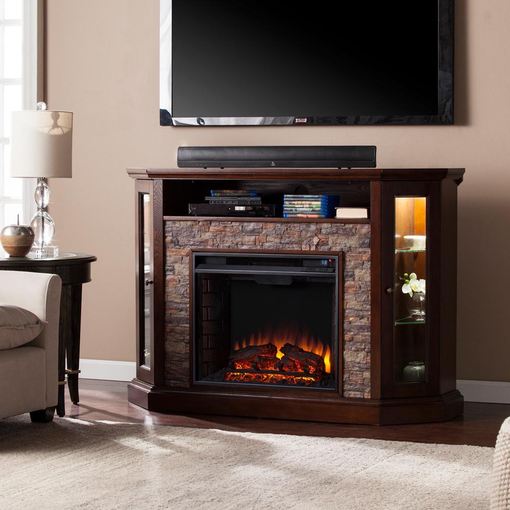 Bellingham 52.25 in. W Corner Convertible Media Electric Fireplace in Espresso