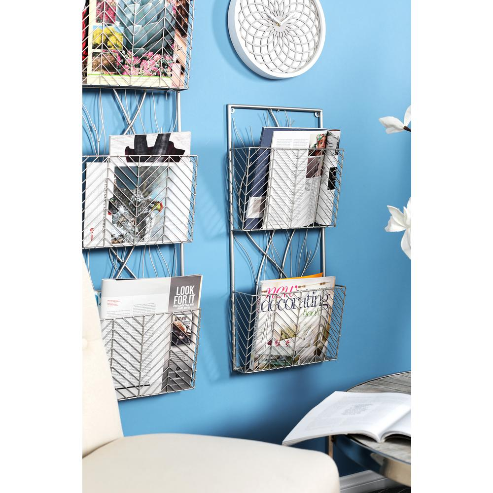 Silver Wall Mounted 2-Tier Magazine Rack