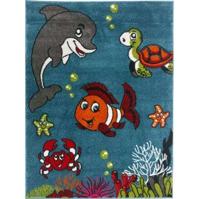 Multi Color Kids Children and Teen Bedroom and Playroom Clown Fish and Sea School Friends 5 ft. x 7 ft. Area Rug