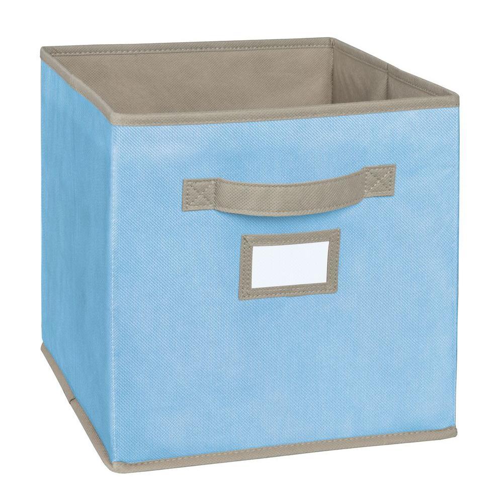 11 in. D x 11 in. H x 11 in. W Light Blue Fabric Cube Storage Bin