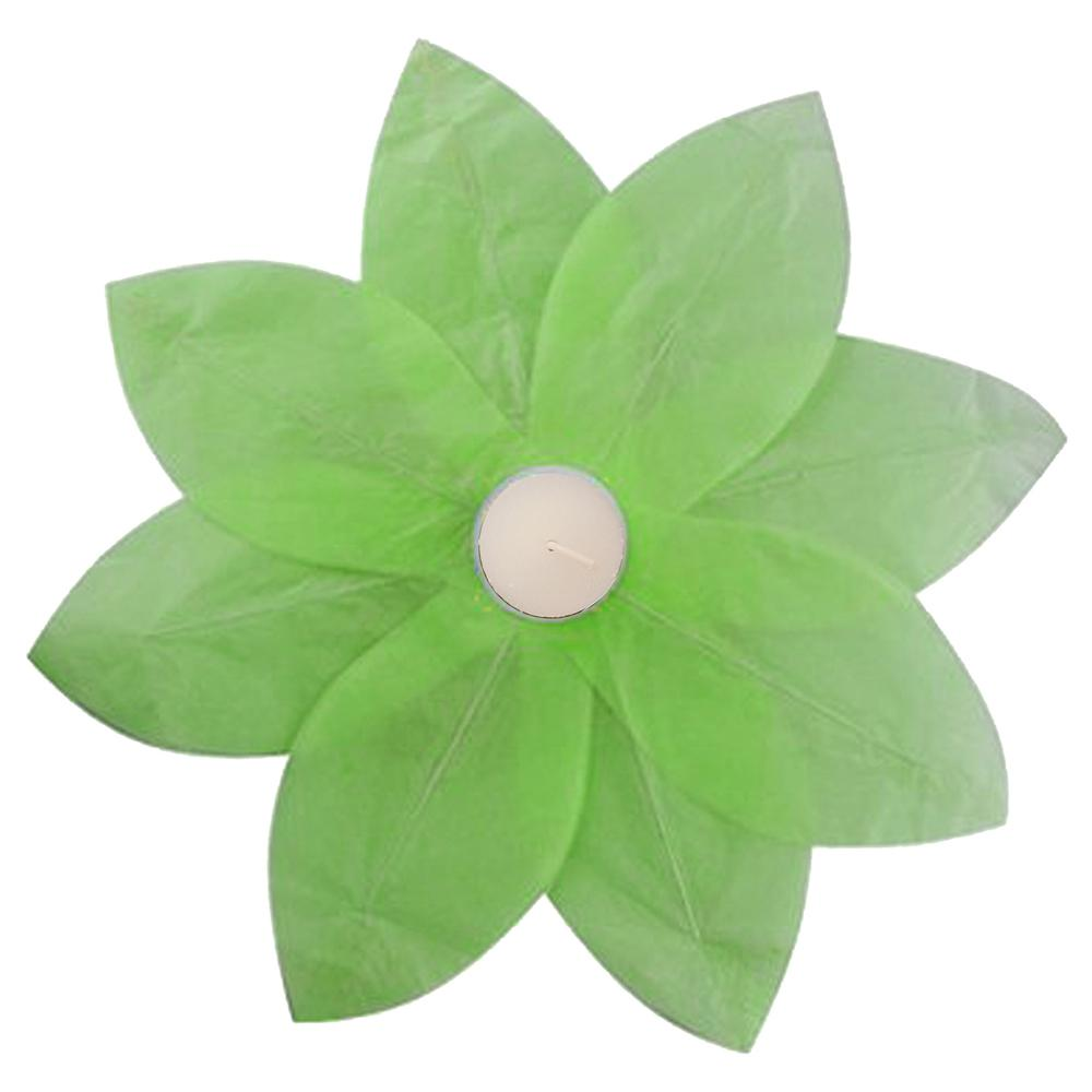 Lumabase Green Floating Lotus Lanterns 6 Count 56606 The Home Depot