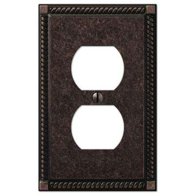 Georgian 1 Duplex Outlet Plate in Aged Bronze Cast (2-Pack)
